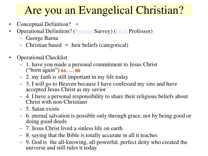 Are you an Evangelical Christian?