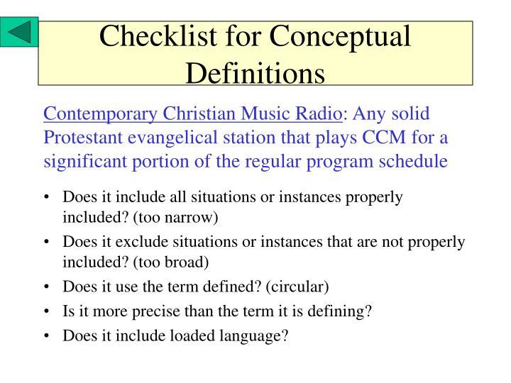 Checklist for Conceptual Definitions