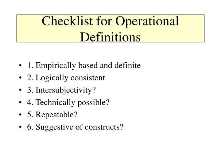 Checklist for Operational Definitions