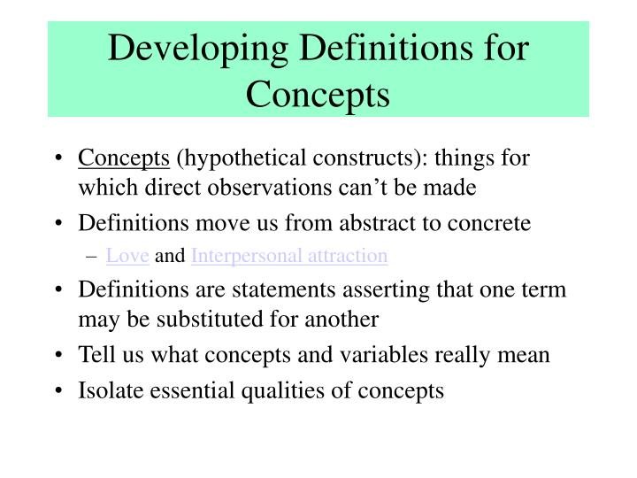 Developing Definitions for Concepts