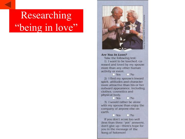 """Researching """"being in love"""""""