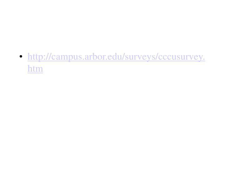 http://campus.arbor.edu/surveys/cccusurvey.htm
