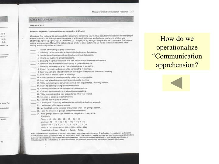 """How do we operationalize """"Communication apprehension?"""