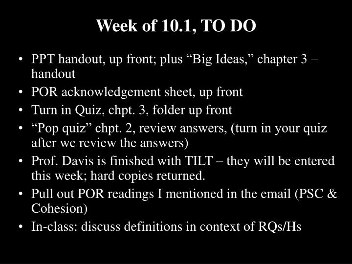 week of 10 1 to do