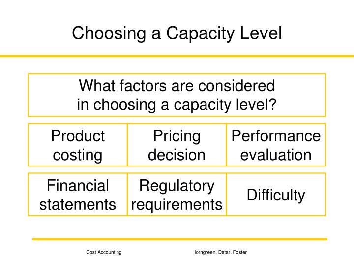 Choosing a Capacity Level