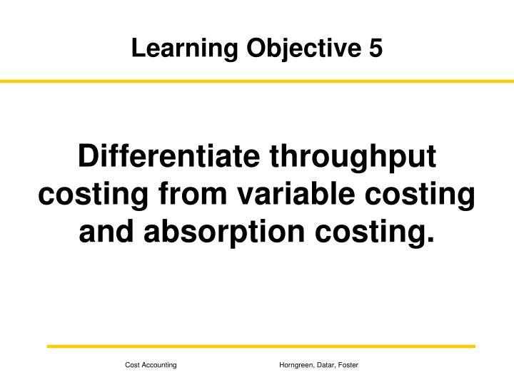 Learning Objective 5