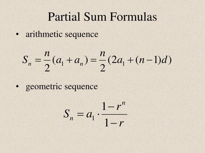 Partial Sum Formulas