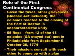 role of the first continental congress