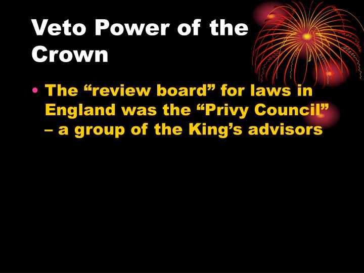 Veto Power of the Crown