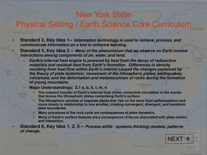 New york state physical setting earth science core curriculum