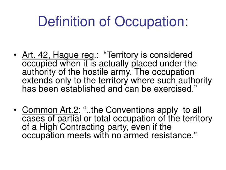 Definition of Occupation