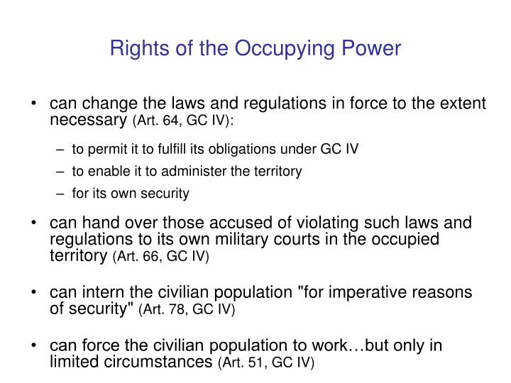 Rights of the Occupying Power