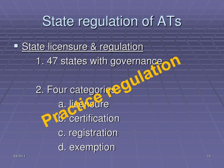 State regulation of ATs