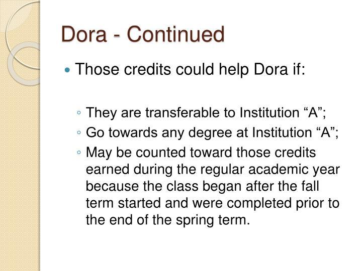 Dora - Continued