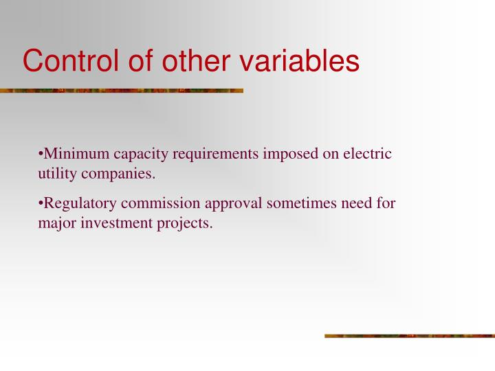 Control of other variables