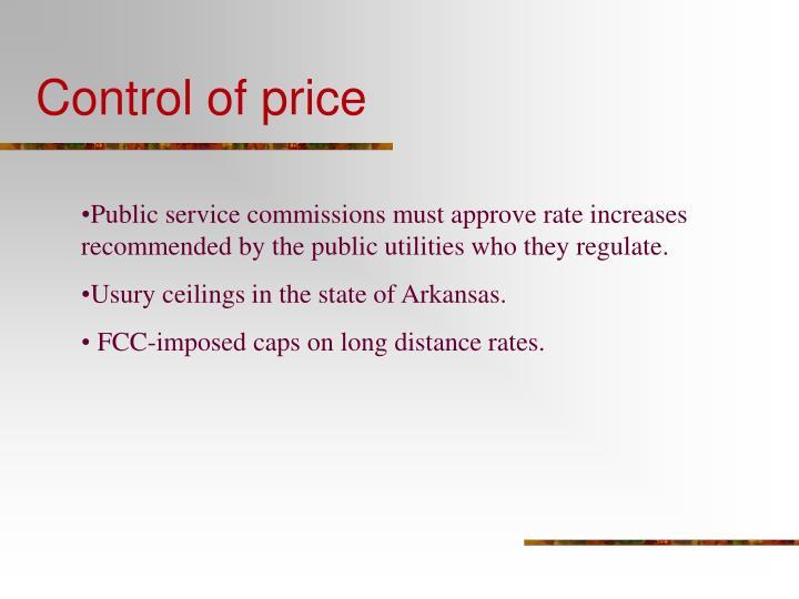 Control of price