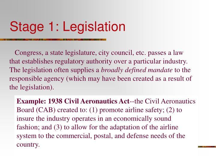 Stage 1: Legislation