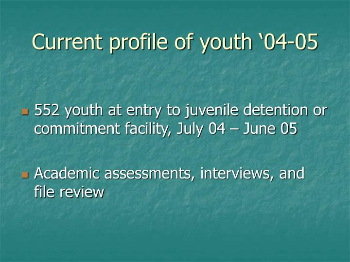 Current profile of youth '04-05