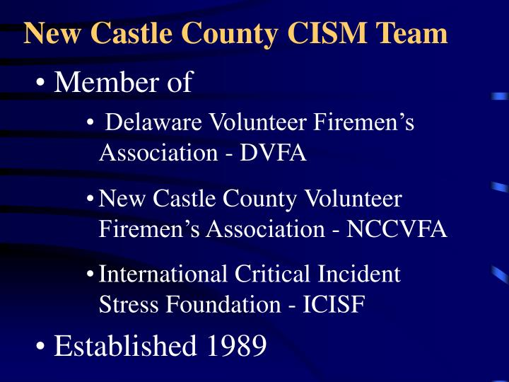 New Castle County CISM Team