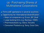 a purchasing shares of multinational corporations