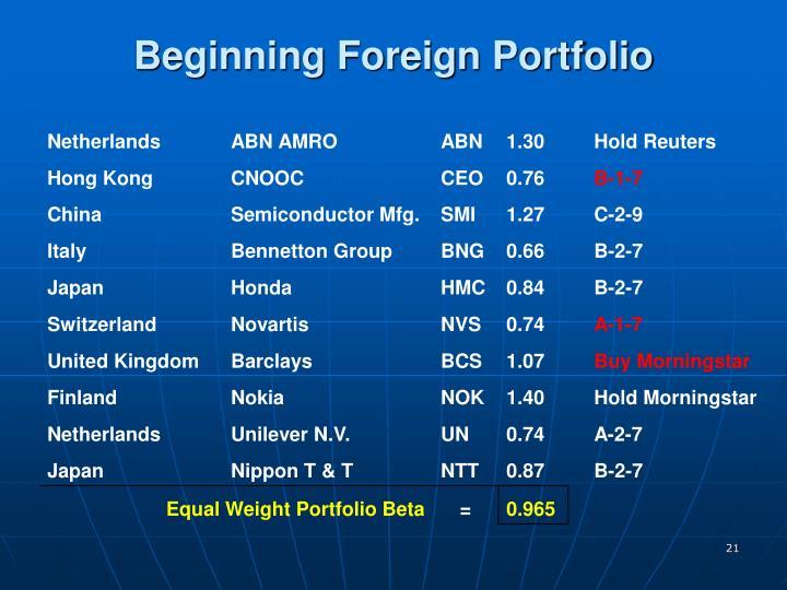 Beginning Foreign Portfolio