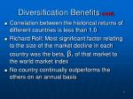 diversification benefits cont