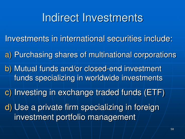 Indirect Investments
