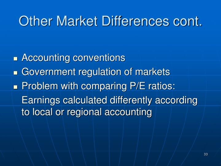 Other Market Differences cont.