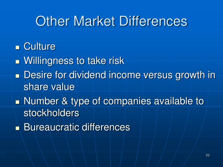 Other Market Differences