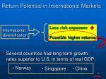 return potential in international markets