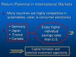 return potential in international markets1