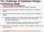 the challenge of database design conflicting goals