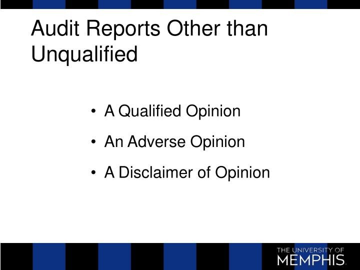 Audit Reports Other than Unqualified