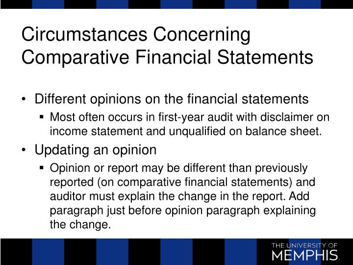 Circumstances Concerning Comparative Financial Statements