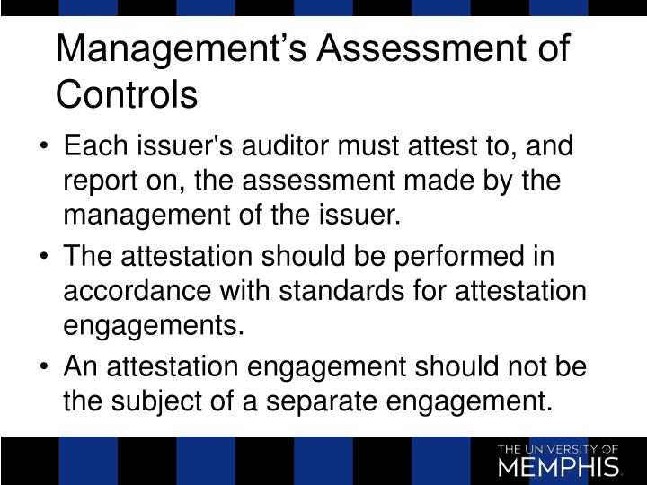 Management's Assessment of Controls