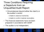 three conditions requiring a departure from an unqualified audit report1