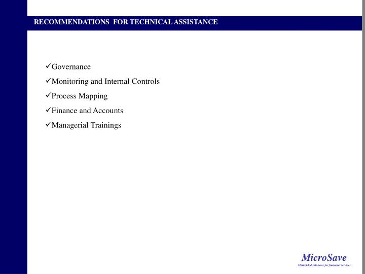 RECOMMENDATIONS  FOR TECHNICAL ASSISTANCE