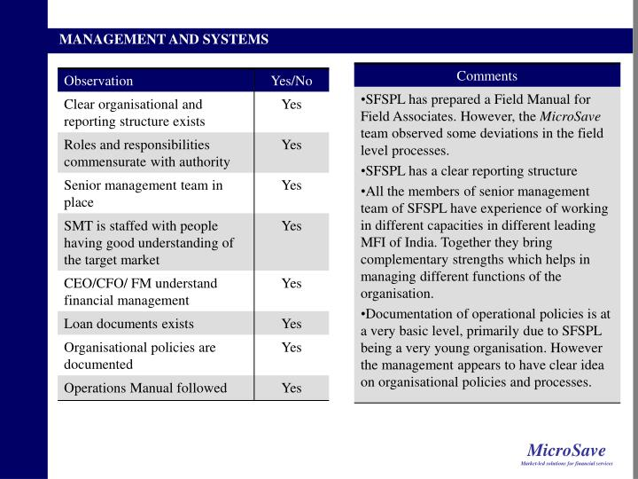 MANAGEMENT AND SYSTEMS