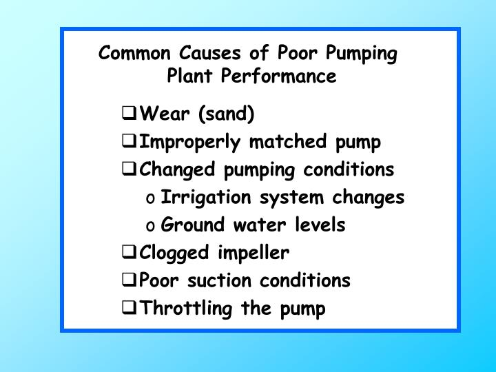 Common Causes of Poor Pumping