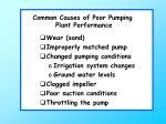 common causes of poor pumping plant performance