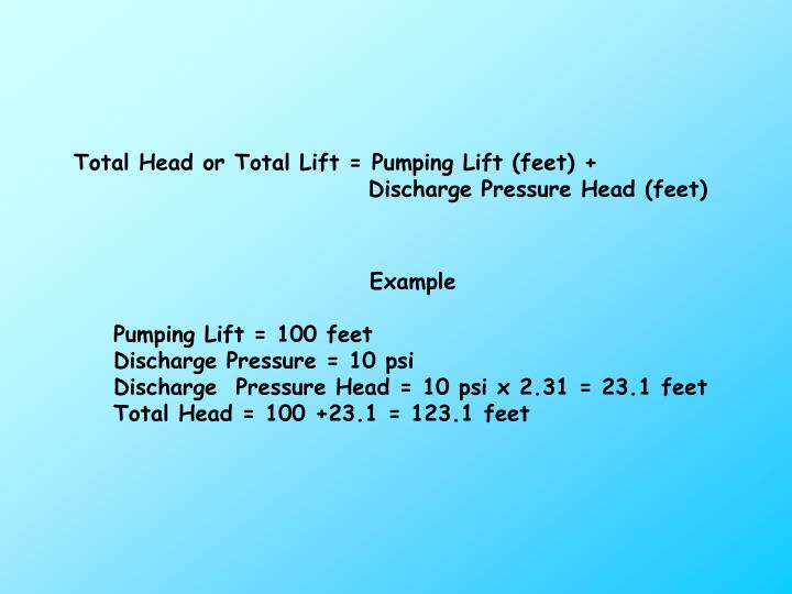 Total Head or Total Lift = Pumping Lift (feet) +