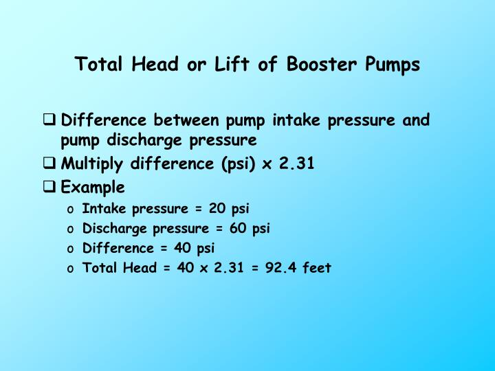 Total Head or Lift of Booster Pumps