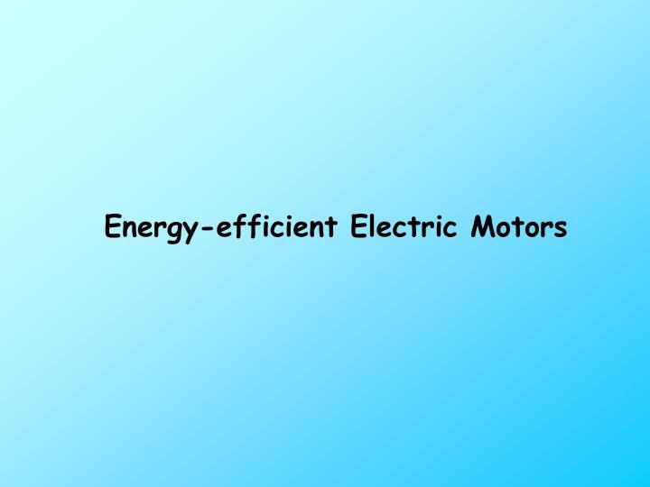 Energy-efficient Electric Motors