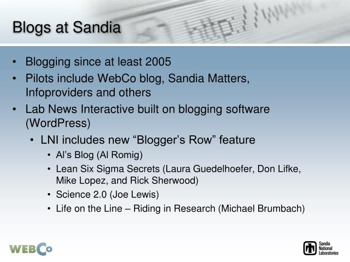 Blogs at Sandia