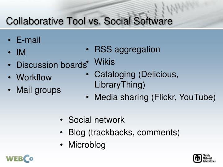 Collaborative Tool vs. Social Software