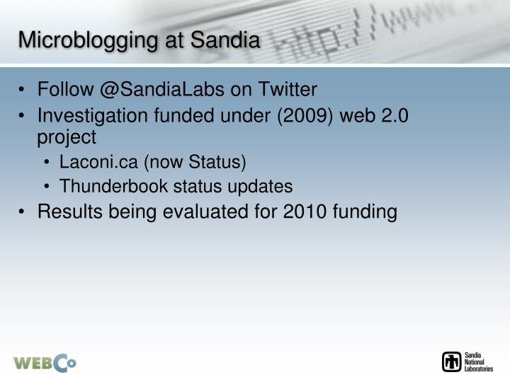 Microblogging at Sandia
