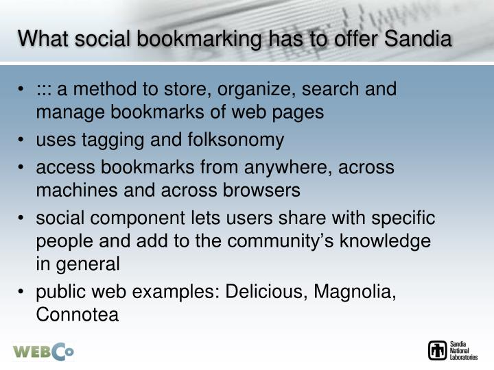 What social bookmarking has to offer Sandia