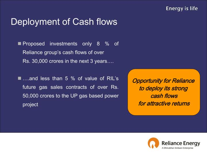 Deployment of Cash flows