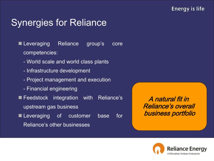 Synergies for Reliance