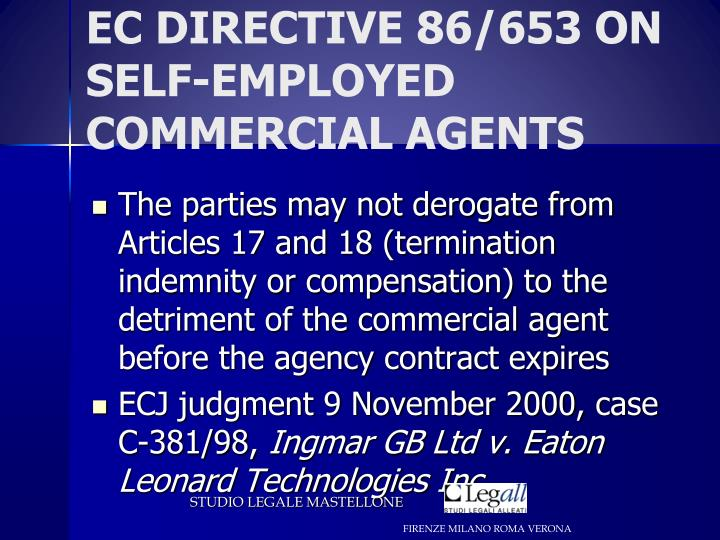 EC DIRECTIVE 86/653 ON SELF-EMPLOYED COMMERCIAL AGENTS
